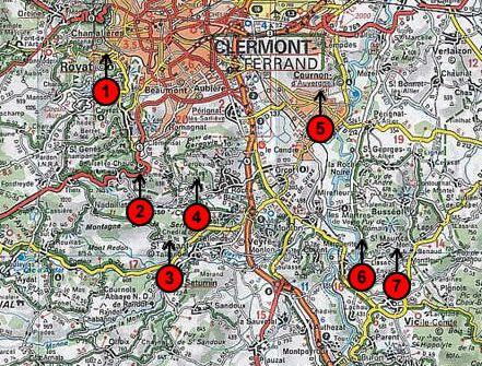Localisation des arrêts sur extrait de la carte Michelin n°73 au 1/200000