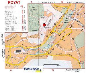Localisation de l'arrêt de Royat