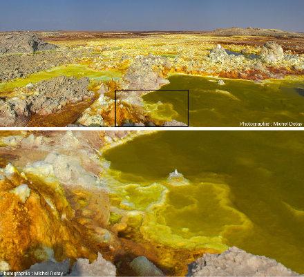 Vue d'ensemble et zoom (correspondant au rectangle noir) sur des dépôts hydrothermaux de sels chargés en métaux à Dallol (Afar, Éthiopie) et riches en microorganismes extrémophiles
