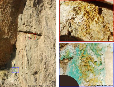 Détails de la paroi riche en pyrite de la carrière Saint Antoine de Saint Pierre la Palud (Rhône)