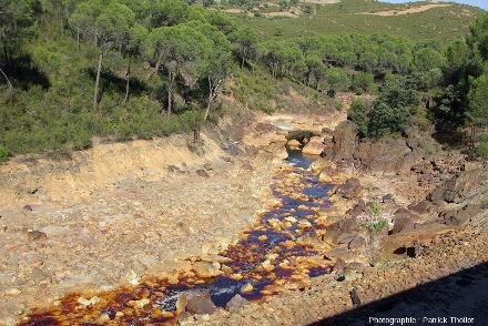 Le Rio Tinto au Sud de l'Espagne, coloré en rouge par des sels de Fe3+ et par des micro-organismes acidophiles