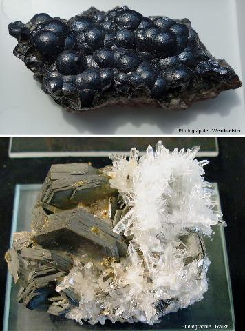 Échantillons de pechblende (UO2) et de pyrrhotite (FeS)