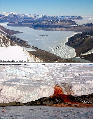 Le glacier Taylor et les Blood Falls («Chutes de sang»), Antarctique de l'Est