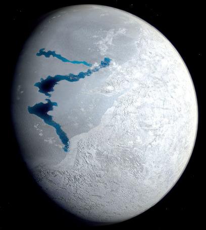 Représentation artistique de la Terre pendant un été d'un épisode «boule de neige»