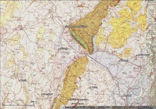 Décrochement mis en évidence sur carte géologique