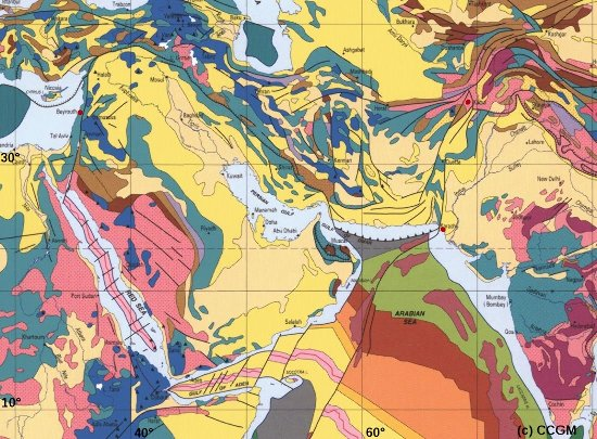 Plaque arabique, faille du Levant et faille Ouest-indienne