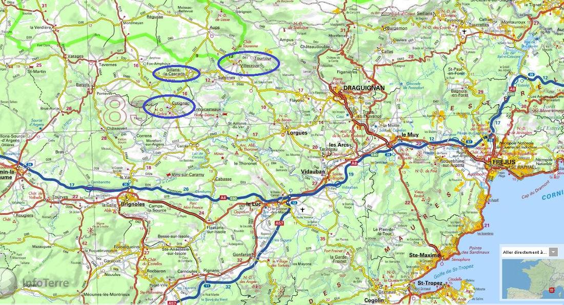 Localisation des 3 villages à falaises de travertin du Haut-Var