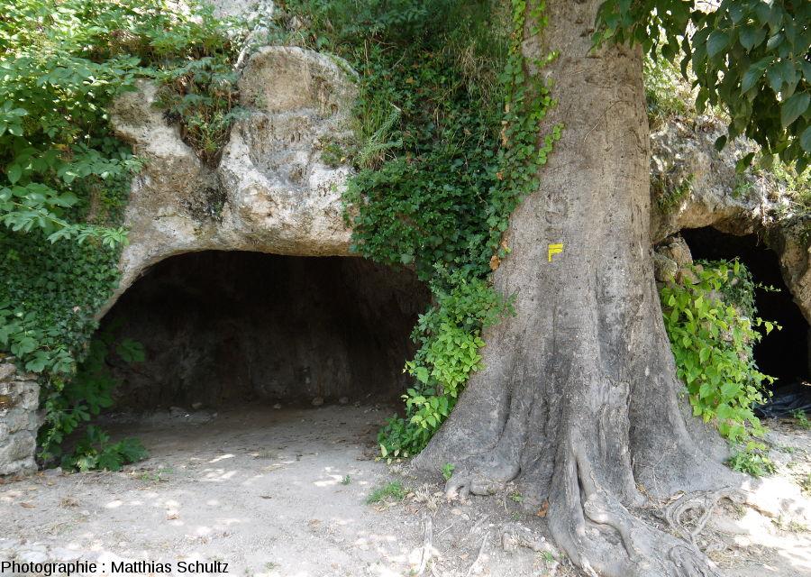 """Restes de voûtes creusées dans le """"rocher"""" de Cotignac"""