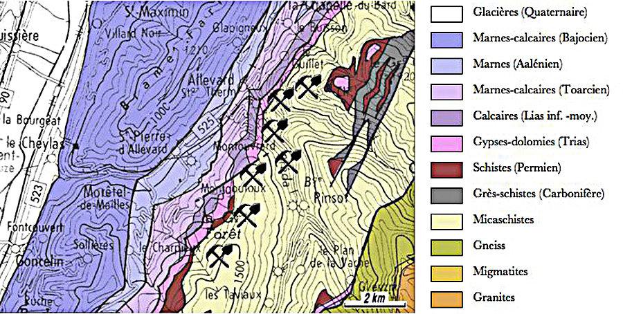 Carte géologique simplifiée du vallon d'Allevard d'après M. Gidon (1977)