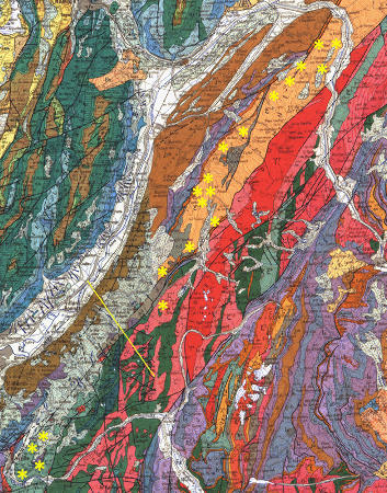 Extrait de la carte géologique de France au 1/1.000.000 montrant le massif de Belledonne et ses environs