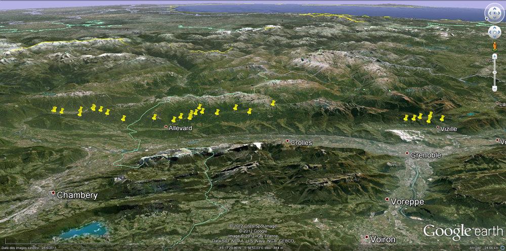 Localisation, en vue oblique, des anciennes mines de fer indiquées sur les cartes géologiques au 1/50.000 entre la vallée de l'Arc (à gauche) et la vallée de la Romanche, région de Vizille (à droite)
