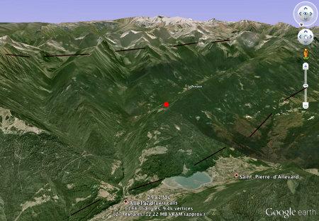 Localisation du «sentier du fer» de Pinsot (point rouge)
