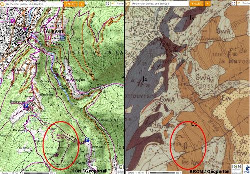 Cartes géologique et topographique (BRGM et IGN) montrant l'accès au «sentier du fer»