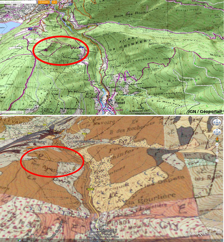 Vues obliques géologique et topographique (BRGM et IGN) montrant l'accès au «sentier du fer»