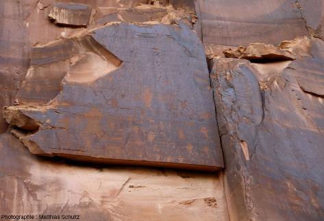 Patine du désert à la surface des grès couverte de pétroglyphes amérindiens