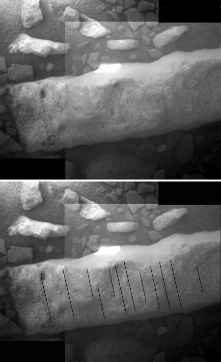 Détail «brut» (en haut) et interprété (en bas) d'une portion du filon Homestake