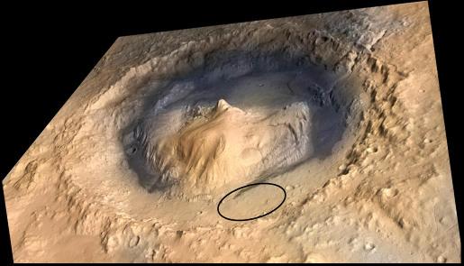 L'objectif martien de Curiosity: le cratère Gale, et plus précisément l'ellipse noire