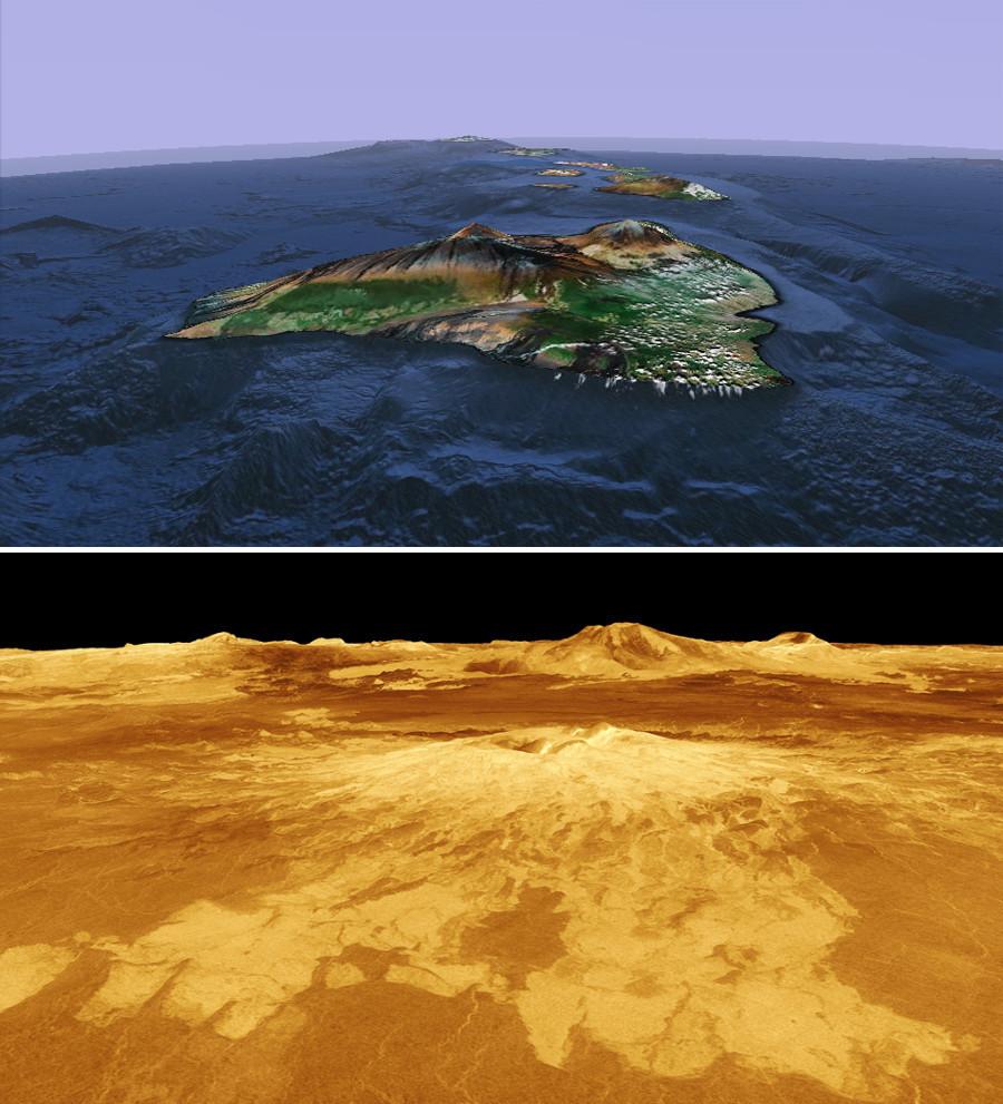 """Un point chaud océanique aujourd'hui (Hawaï vue par Google earth) et """"demain"""" (Sapas Mons, un volcan de Vénus vu par la sonde Magellan)"""