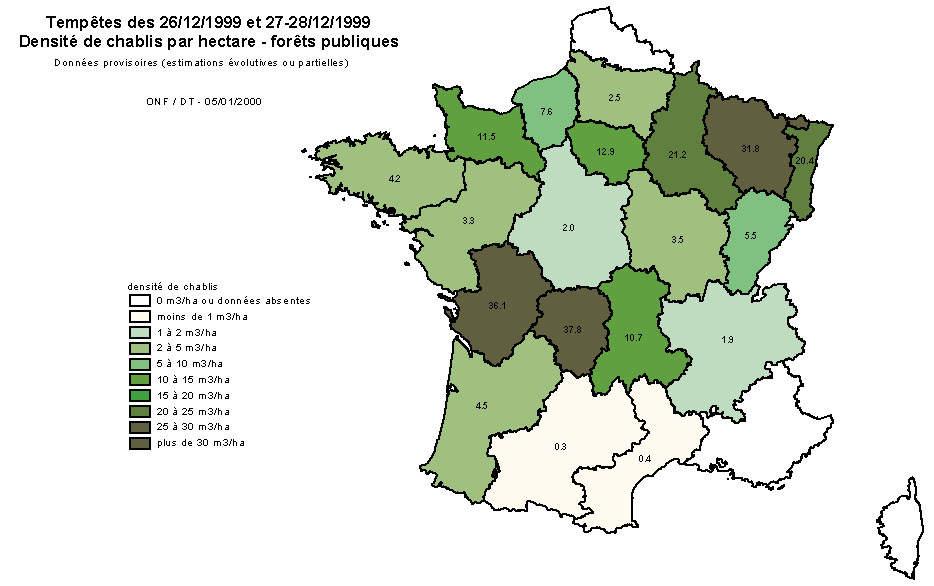 Les forêts françaises les plus touchées