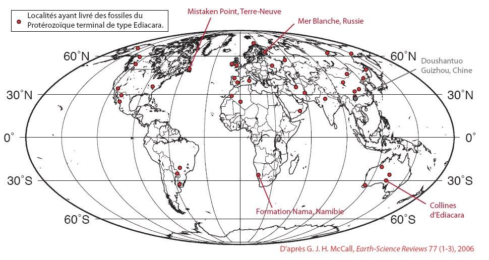 Localisation actuelle des sites ayant fourni des fossiles de type Ediacara (en rouge) et du site de Doushantuo (en bleu)