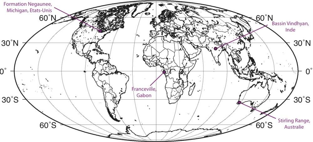 Localisation actuelle des sites méso- et paléo-protérozoïques mentionnés dans le texte