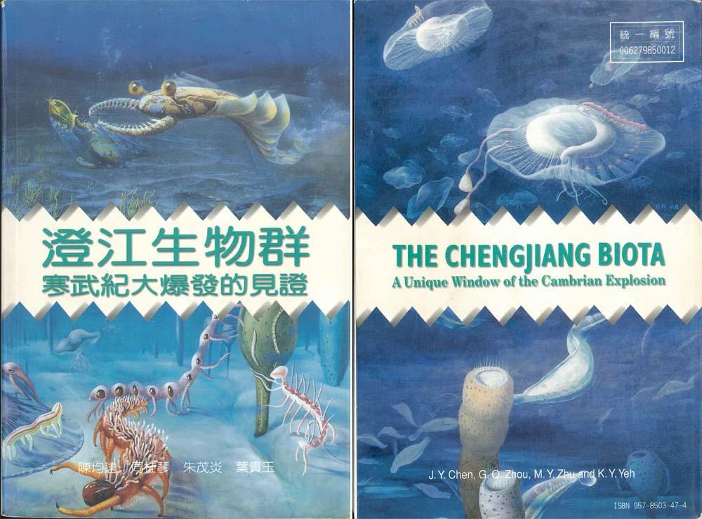 Couverture avant (à gauche) et arrière (à droite) d'un livre chinois sur le site de Chengjiang