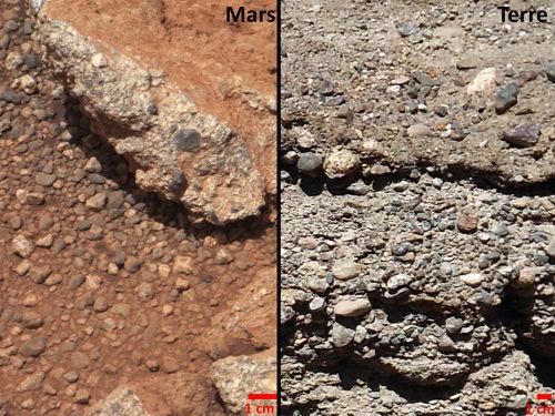 Détail du micro-conglomérat comparé à un équivalent terrestre