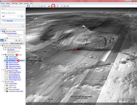 image Google Mars oblique (prise en direction du SSE) sur l'ensemble du cratère Gale, avec le Mont Sharp en son centre