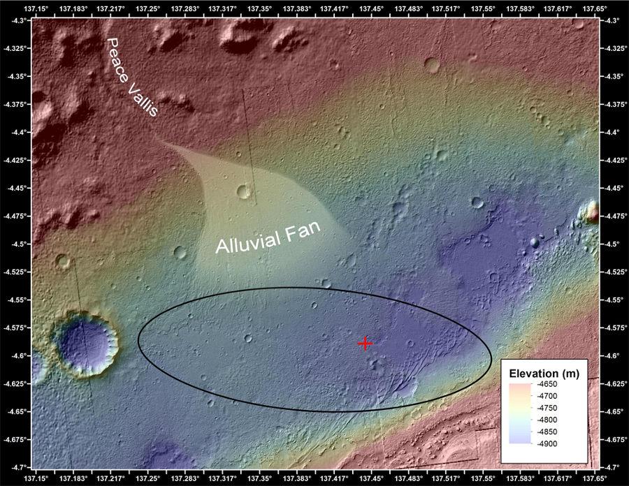 Carte altimétrique de la plaine située entre le Mont Sharp et le bord NNO du cratère Gale au niveau du débouché de la Peace Vallis