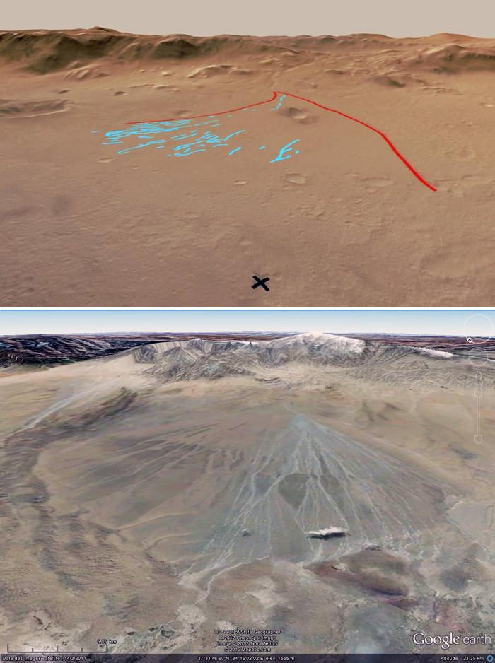 Comparaison entre le cône alluvial de Peace Valley dans le cratère Gale et un équivalent terrestre