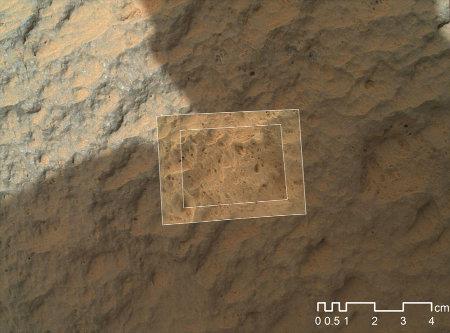 Gros plan de Jake Matijevic réalisé par la caméra microscope MAHLI (Mars Hand Lens Imager)
