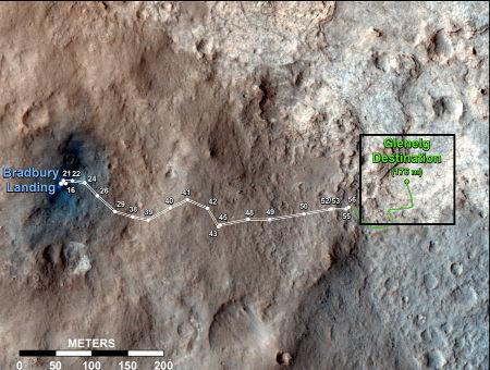 Trajet de Curiosity jusqu'au sol 56 (56ème jour martien de sa mission), soit le 2 octobre 2012