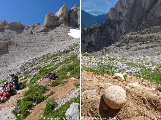Excavation sur le chemin de la Grande Tête de l'Obiou, massif du Dévoluy, Hautes-Alpes
