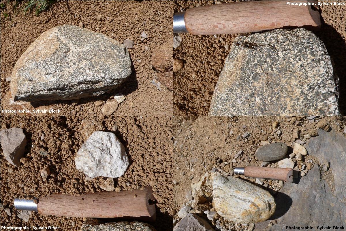 Galets plus ou moins roulés dans une matrice arènique non consolidée, en route vers l'Obiou, massif du Dévoluy, Hautes-Alpes