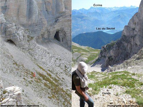 Des cavernes se situent à la proximité de l'affleurement (photo de gauche), le massif du Dévoluy est parcouru de nombreux paléo-réseaux karstiques
