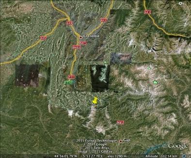 Localisation du massif du Dévoluy et de l'Obiou (punaise jaune)