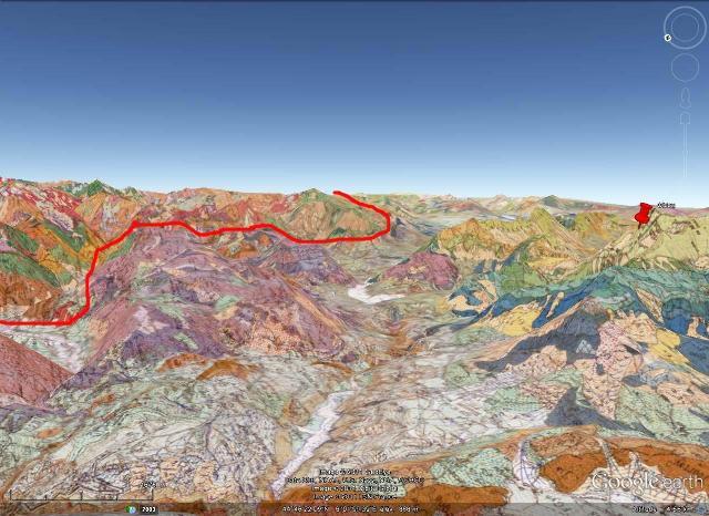 Carte géologique en relief du secteur étudié, vallée du Drac vue en direction du Sud-Est