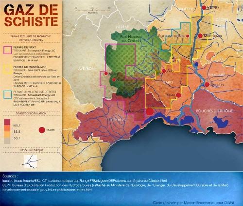 Carte des trois permis de recherche accordés dans le Sud-Est de la France en 2010 auxquels s'applique le moratoire décidé le 4 février 2011