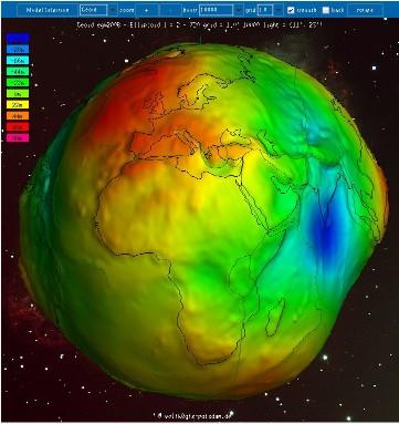 Creux et bosses du géoide par rapport à un ellipsoïde de référence (1/4)