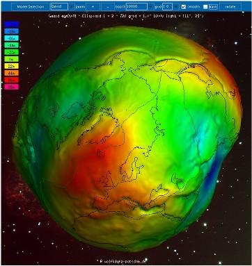 Creux et bosses du géoide par rapport à un ellipsoïde de référence (3/4)