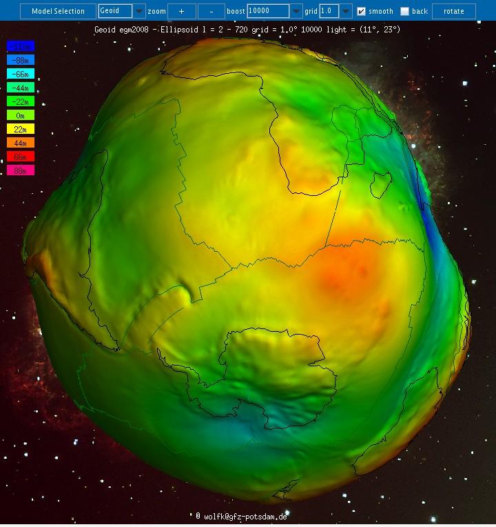 Creux et bosses du géoide par rapport à un ellipsoïde de référence (4/4)