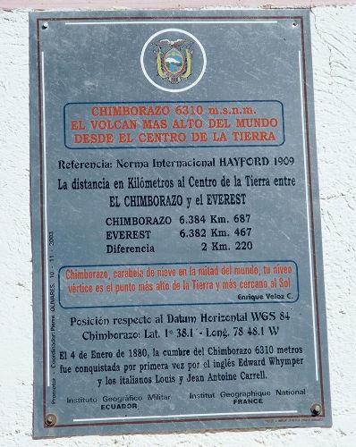Plaque sur les flancs du Chimborazo (Équateur) dont le sommet est le point topographique le plus éloigné du centre de la Terre