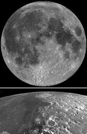 """La différence entre """"mers"""" et """"continents"""" à la surface de la Lune"""