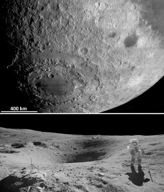 Le bassin lunaire Orientale, le plus récent des grands bassins d'impact lunaire, de 900km de diamètre