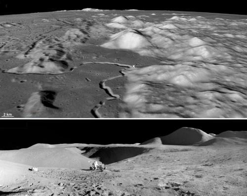 Exemple vu depuis l'orbite et depuis le sol d'un chenal d'écoulement de lave en bordure de la Mer des Pluies (Mare Umbrium)