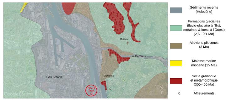 Carte géologique simplifiée du Sud de Lyon vers la confluence Rhône - Saône