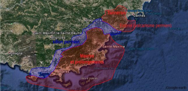 Position des massifs hercyniens des Maures et de Tanneron dans la région PACA