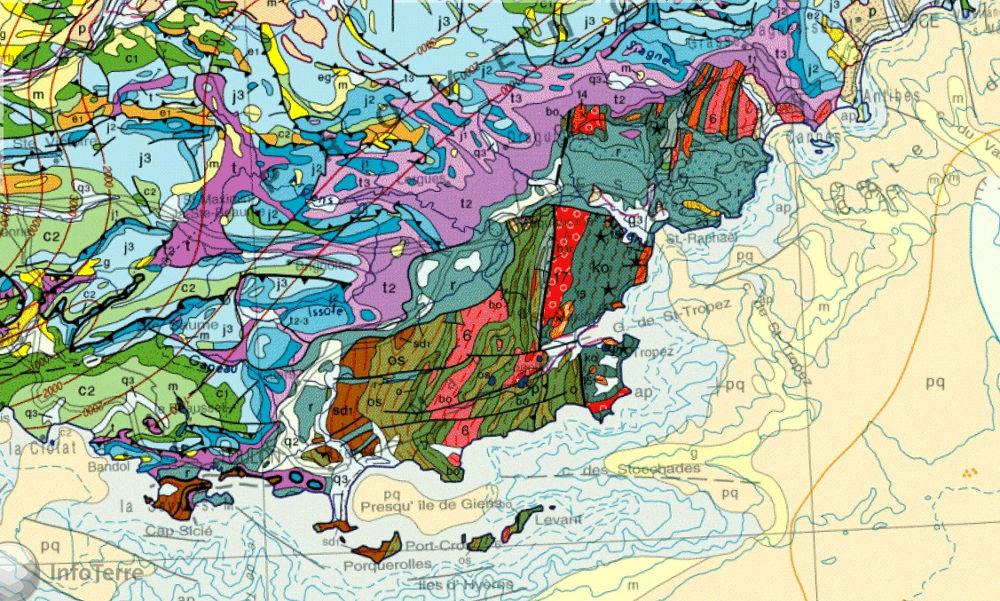 Position des massifs hercyniens des Maures et de Tanneron sur la carte géologique de France au 1/1000000