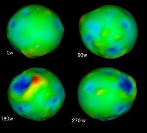 Topographie de Phoebé vue sous quatre angles différents
