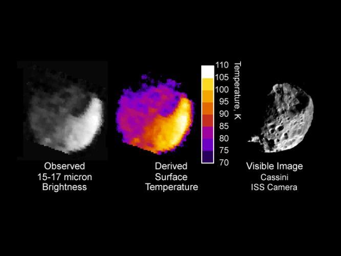 Température à la surface de Phoebé déduite de mesures du rayonnement infra-rouge thermique